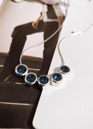 Шикарное новое колье i am кристаллы swarovski синие ожерелье asos цепочка под серебро