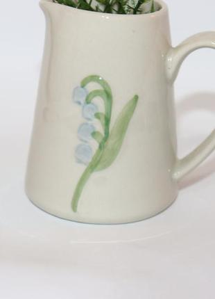 Красивая мини ваза кувшин с росписью ландыш керамика европа винтаж