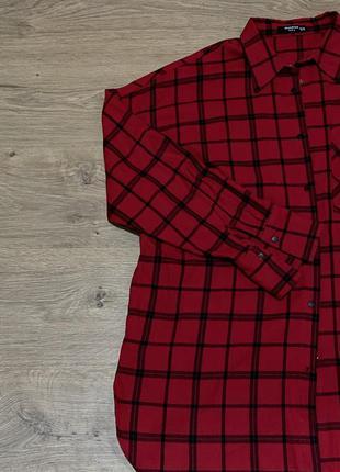 Красная рубашка в клетку резервед reserved оверсайз oversized
