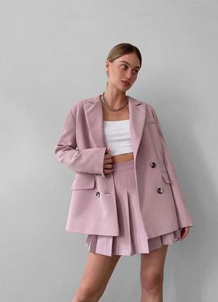 Женский костюм комплект деловой юбка плиссе мини до колена и пиджак удлиненный длинный пудра розовый  тренч
