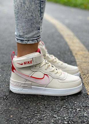 Кожаные кроссовки nike air force shadow high fur