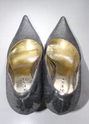 Туфли next серебрянные серебристые для снегурочки металлик лодочки классические