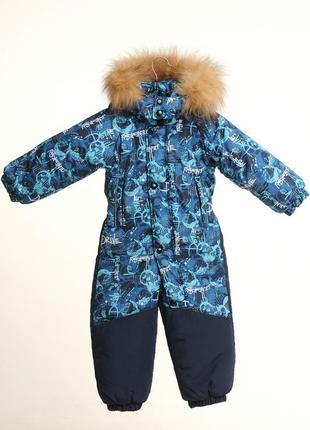 Зимний, сплошной комбинезон для мальчишек. на рост 86 - 104 см.