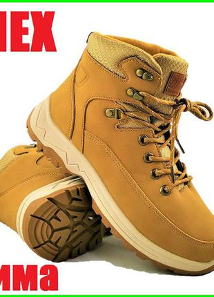 Мужские ботинки зимние коричневые / рыжие / экокожа