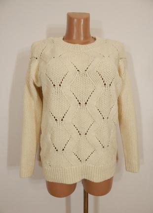 Объемный свитер крупной вязки шерсть в составе