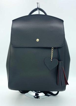 Жіночий рюкзак з еко-шкіри (чорний). женский рюкзак.