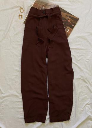 Шоколадные брюки с поясом george