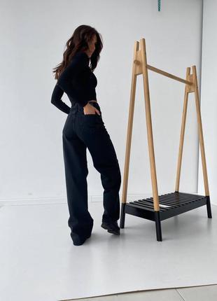 Джинсы палаццо, клёш, трубы, women denim, прямые джинсы, чёрные джинсы