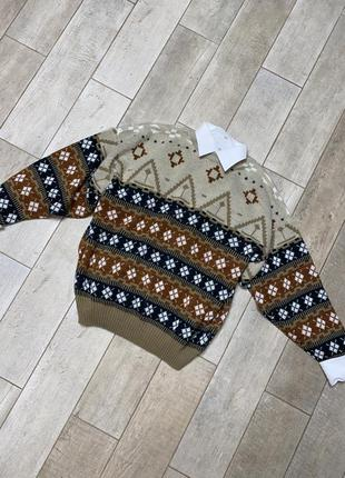 Бежевый винтажный свитер,узоры(14)