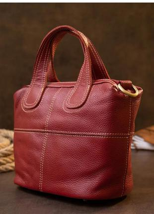 Женская сумка красная кожаная флотар
