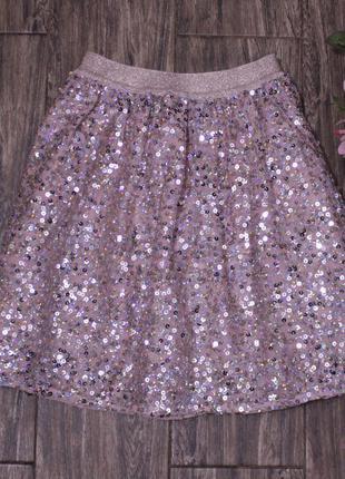 Шикарная нарядная юбка george в паетки 9-10 лет
