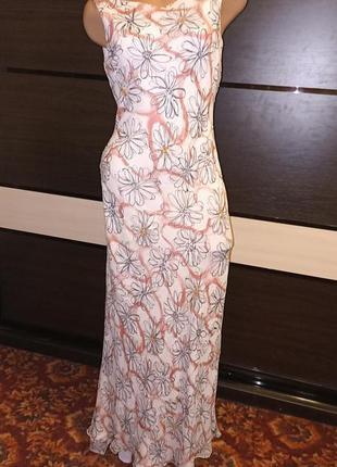 Вечернее шелковое платье со шлейфом