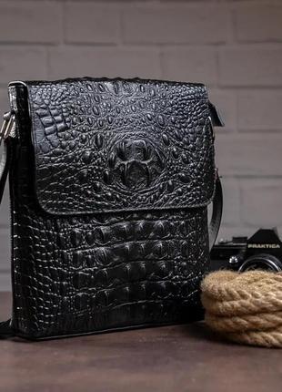 Мужская черная сумка с тиснением под рептилию