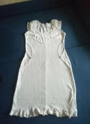 Летняе  натуральное вязаное бежевое платье