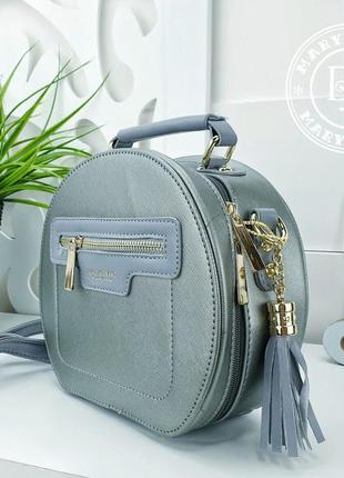 Модная круглая сумка кросс-боди с кисточками / blue silver