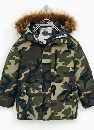 Куртка парка двусторонняя zara камуфляж