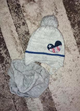 Теплая зимняя шапка и хомут