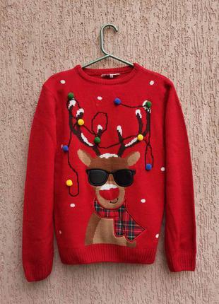 Светр новорічний свитер новогодний 13-14 лет