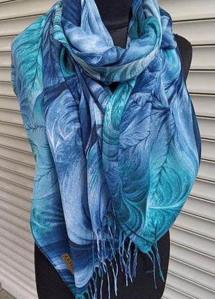 Бирюзовый палантин шарф с кистями производство турция