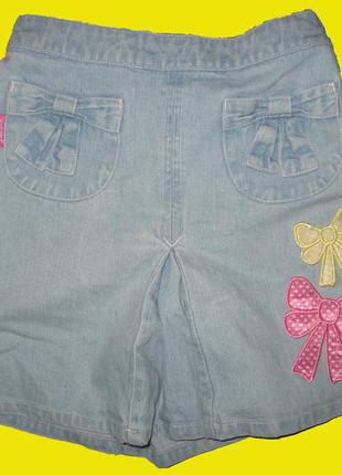 Джинсовая юбка с цветами barbie-на 6-7 лет,рост 122-128 см,george