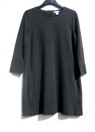 Графитовое тёмное прямое тёплое платье очень плотной ткани h&m с карманами