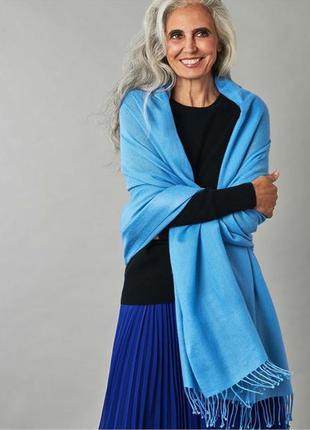Кашемировый шарф палантин бирюзовый кашемир