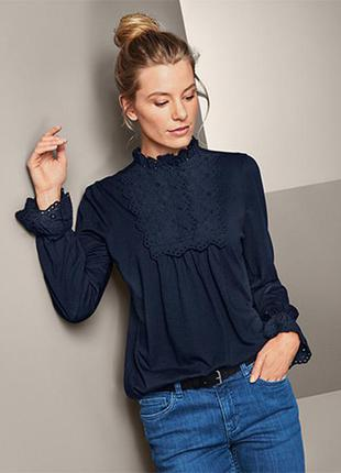 Шикарная блузка-рубашка с воротником-стойкой от тсм tchibo (германия) размер евро 44/46 (укр 50/52))