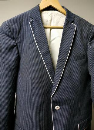 Пиджак лен вискоза синий в тонкую полоску