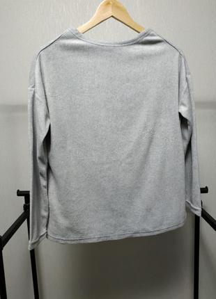Флисовый мягкий свитер серый спущенный рукав оверсайз tcm tchibo