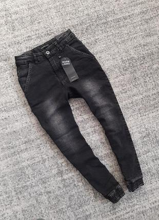 Теплые джинсы джоггеры на подкладке reserved