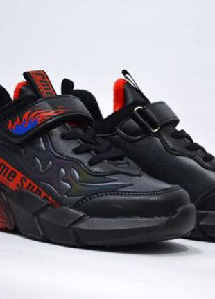 Кроссовки утепленные для мальчика paliament арт.a-0315, spider_fire, черный-красный