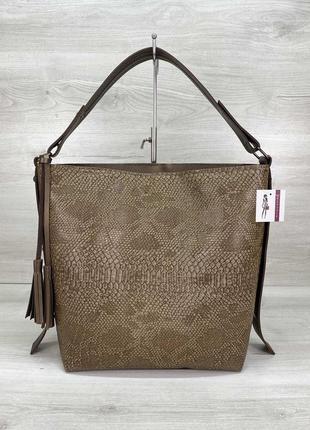 Женская сумочка мешок шоппер с ручкой на плечо женская коричневая сумка на молнии