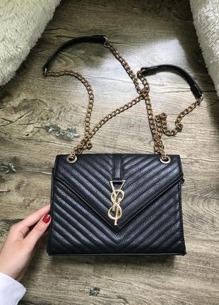 Сумка сумочка клатч кросбоди чорна золото чёрная
