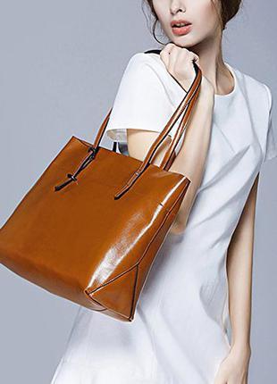 Кожаная сумка шопер s-zone 121726