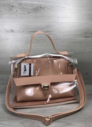 Прозрачная женская сумочка силиконовая сумка портфель  розовая пудровая через плечо с косметичкой