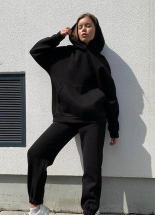 Костюм на флисе утепленный худи штаны джогеры