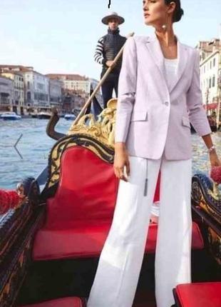 Белые брюки с высокой талией
