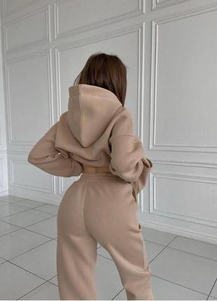 Костюм женский на флисе трикотаж утепленный худи штаны джогеры