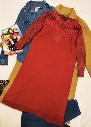 Платье прямое шифон с кружевом большое батал сливовое розовое красное фуксия little