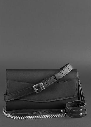 Кожаная сумка вечерняя клатч кроссбоди на пояс  ручная работа черная стильная
