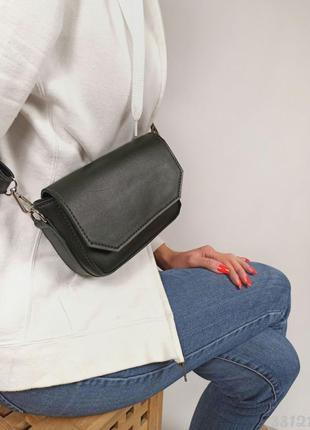 Зелена кросбоді жіноча сумочка через плече, темно зеленая женская сумка кроссбоди