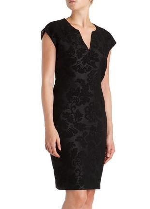 Ted baker чёрное платье цветочный принт миди карандаш футляр по фигуре классическое базовое