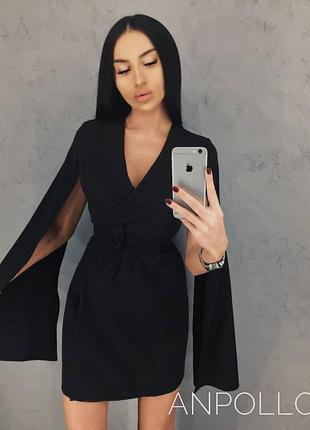 Платье чёрное с поясом