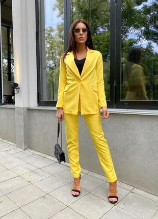 💗костюм женский, брючный, офисный, пиджак и брюки, 547/362,  желтый