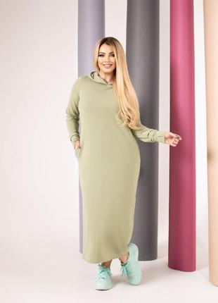 Спортивное платье женское длинное с капюшоном деми двухнить прогулочное олива