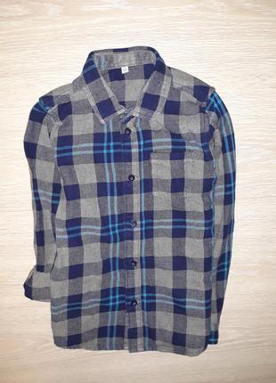 Тёплая, плотная рубашка marks&spencer на 8-9 лет