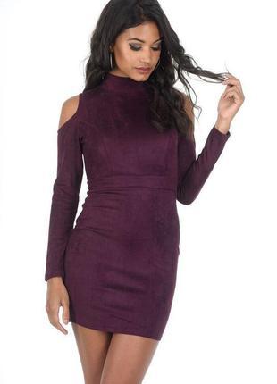 Ax paris платье искусственная замша бордо бордовое марсала бургунди с открытыми