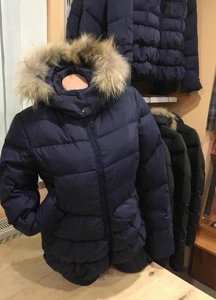 Приталенная куртка пуховик adesto на резинке внизу