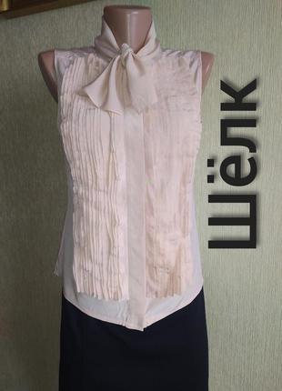 Романтичная дизайнерская блуза из натурального шелка,р.34-36