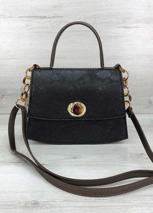 Черная маленькая сумочка портфель молодежная мини сумка через плечо кроссбоди